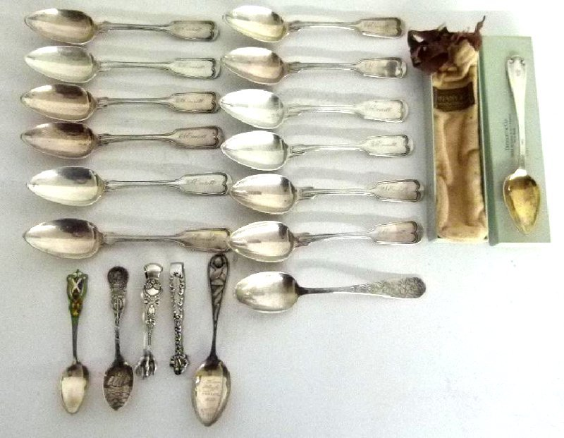 LOT ASSORT. STERLING FLATWARE INCL. SOUVENIR TIFFANY