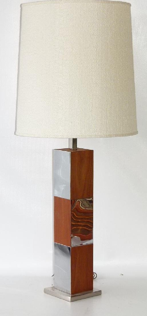 ART MODERN CHROME/MAHOGANY TABLE LAMP, 20TH C.