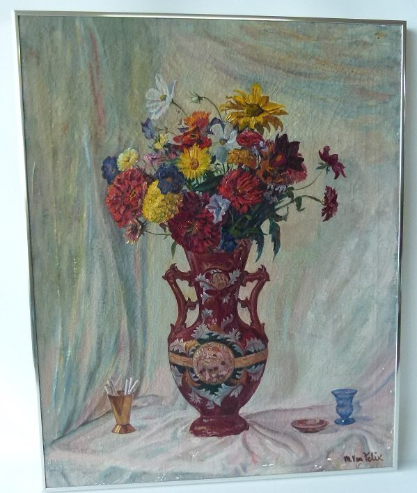 O/B STILL LIFE W/ FLOWERS SIGNED M. VAN FELIX, 20TH C.