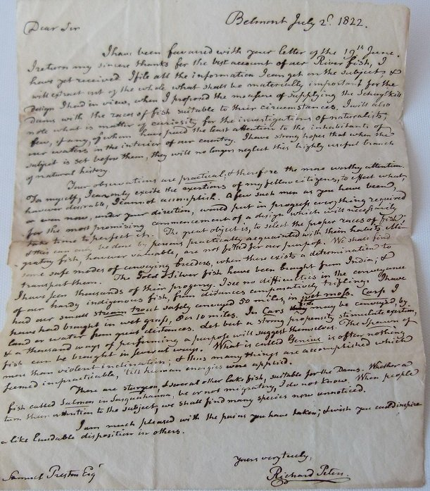 MANUSCRIPT LETTER TO SAMUEL PRESTON FROM RICHARD PETERS