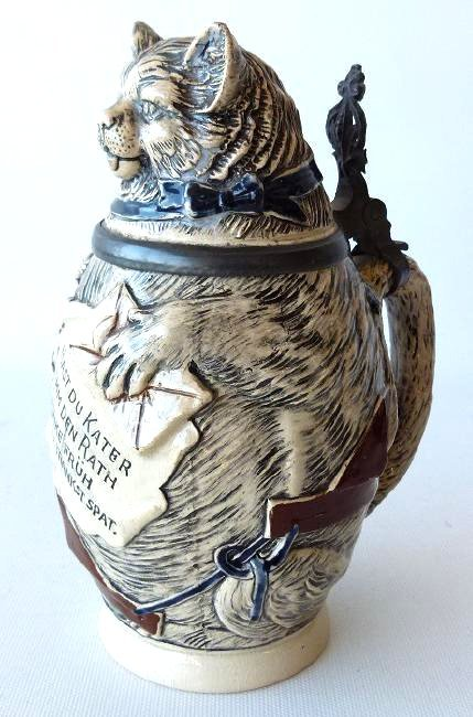 """1/2 L. GERMAN CHARACTER BEER STEIN """"FAT CAT"""" 19/20TH C."""