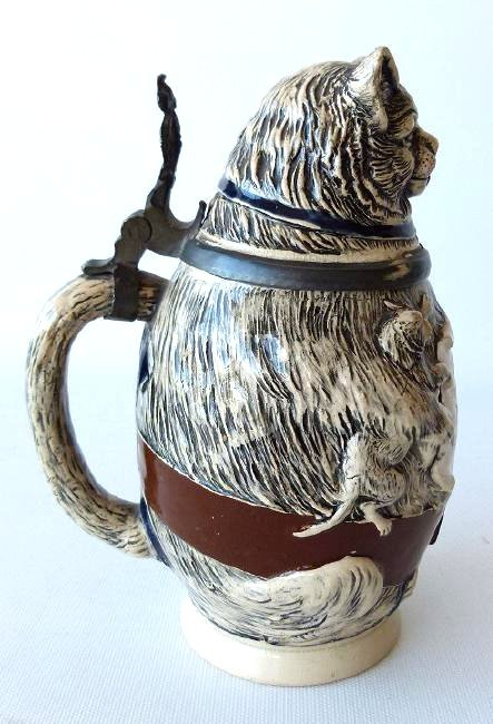 """1/2 L. GERMAN CHARACTER BEER STEIN """"FAT CAT"""" 19/20TH C. - 3"""