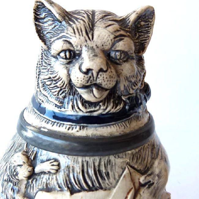 """1/2 L. GERMAN CHARACTER BEER STEIN """"FAT CAT"""" 19/20TH C. - 4"""