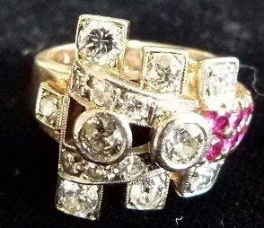 14KT ROSE GOLD DECO DIAMOND/RUBY RING, C. 1930