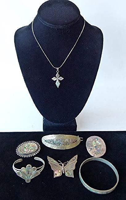 LOT ASSORTED MEXICAN STERLING/ABALONE INLAID JEWELRY
