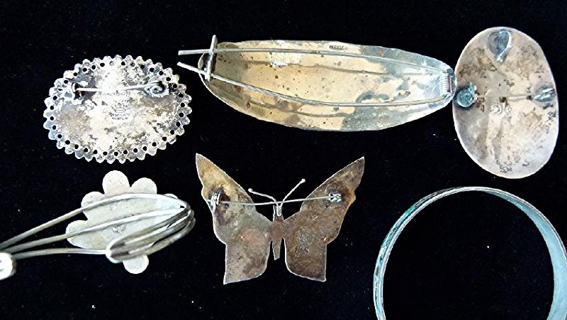 LOT ASSORTED MEXICAN STERLING/ABALONE INLAID JEWELRY - 8