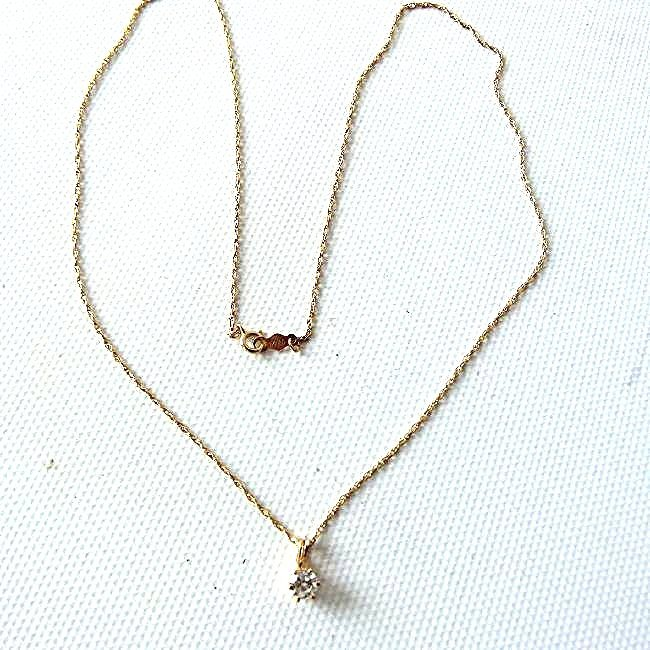 14KT YELLOW GOLD/DIAMOND PENDANT/NECKLACE - 2