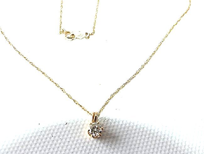 14KT YELLOW GOLD/DIAMOND PENDANT/NECKLACE - 5
