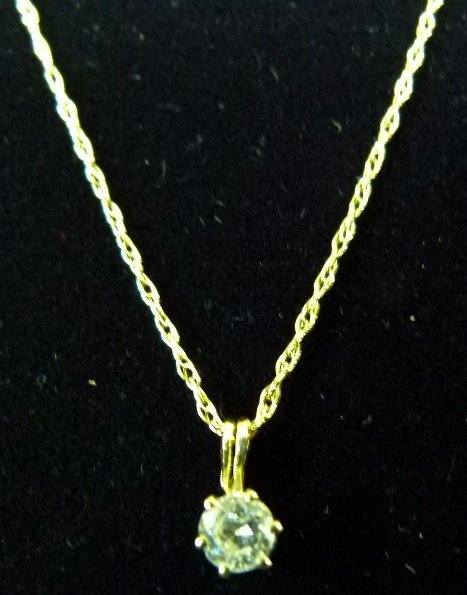 14KT YELLOW GOLD/DIAMOND PENDANT/NECKLACE - 6