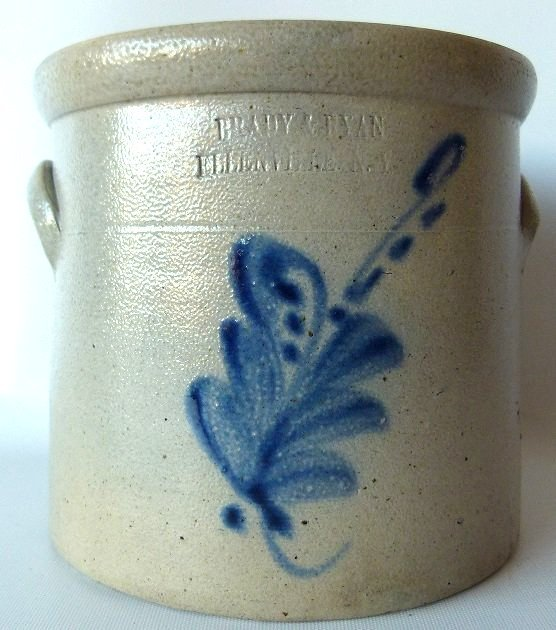 BRADY & RYAN 1 GAL. SALT GLAZED STONEWARE CROCK. 19TH
