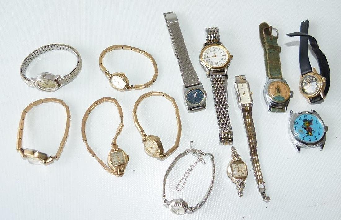 LOT ASSORTED LADIES WATCHES INCL. 14KT/CHARACTER