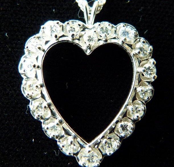 14KT WHITE GOLD HEART PENDANT, C. 1960