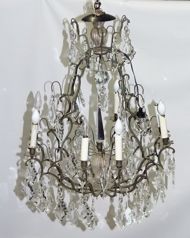 AMERICAN CHIPPENDALE HAND WROUGHT CHANDELIER