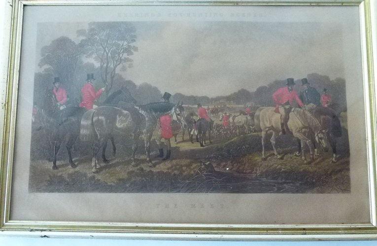 "H/C ENGRAVING ""THE MEET"" HERRINGS FOX HUNTING SCENE"
