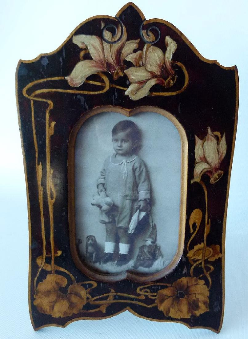 FRENCH ART NOUVEAU PAINTED WALNUT DRESS FRAME 19/20TH.