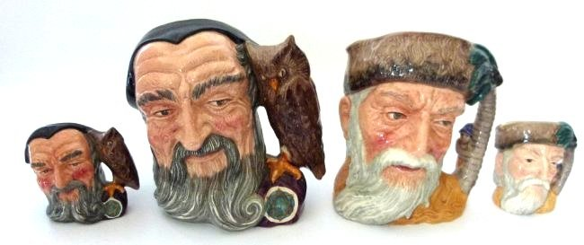 LOT (4) ROYAL DOULTON MERLIN/ROBINSON CRUSOE TOBY MUGS