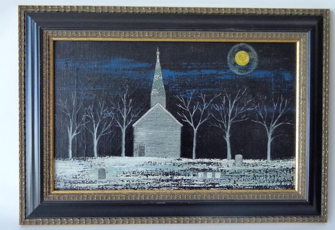 O/C WINTER SCENE/CHURCH YARD SIGNED SILVA C. 1930