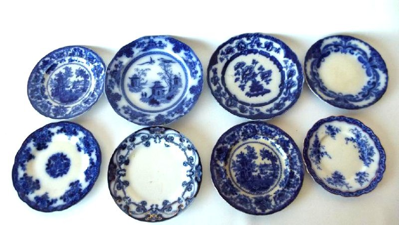 LOT (8) ASSORTED FLOW BLUE IRONSTONE DINNER/LUNCHEON