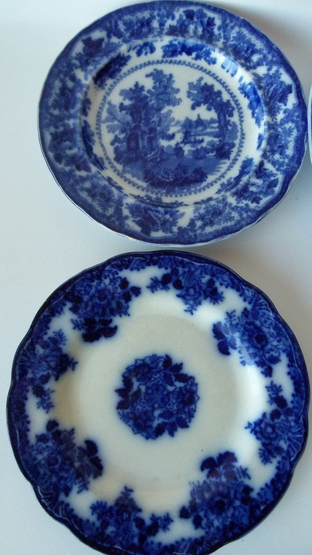 LOT (8) ASSORTED FLOW BLUE IRONSTONE DINNER/LUNCHEON - 2