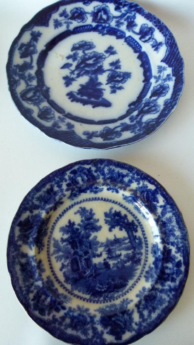 LOT (8) ASSORTED FLOW BLUE IRONSTONE DINNER/LUNCHEON - 6
