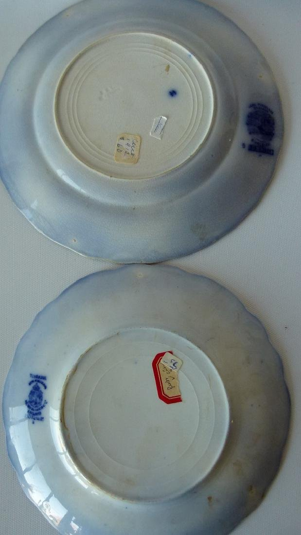 LOT (8) ASSORTED FLOW BLUE IRONSTONE DINNER/LUNCHEON - 9
