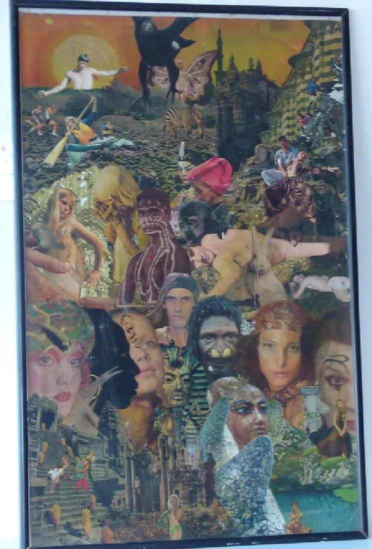 MID-CENTURY MODERN COLLAGE SIGNED HENRI LEWIS 20TH C.