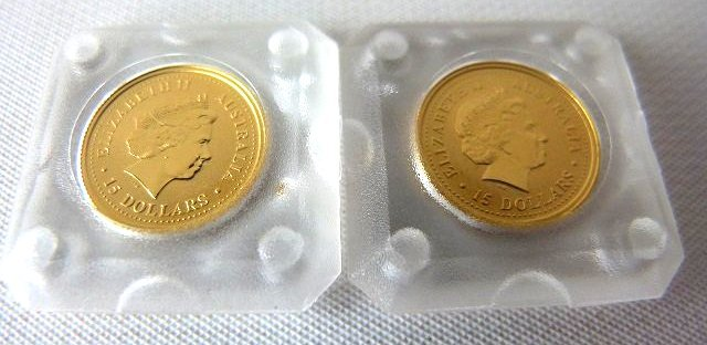 LOT (2) AUSTRALIAN 1999 1/10TH OZ. GOLD COINS .999 PURE