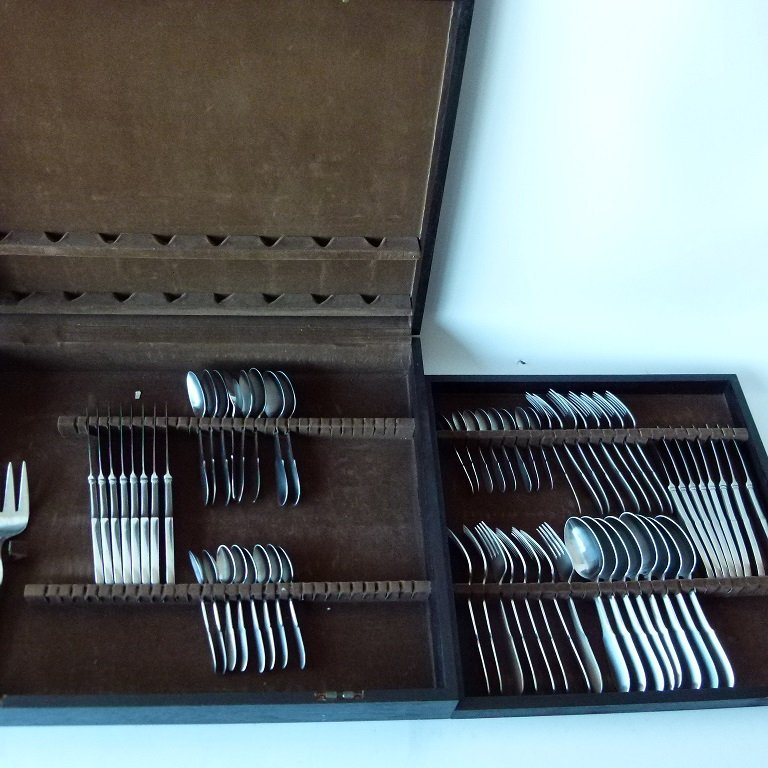 SET (8) GEORGE JENSEN STAINLESS FLATWARE  C. 1960