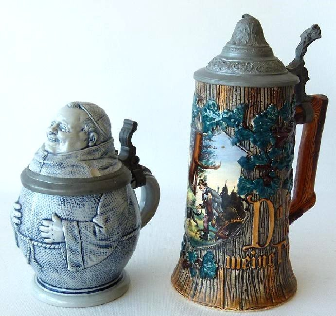 LOT (2) 1/4 & 1/2 LITRE GERMAN CHARACTER STEINS INCL.