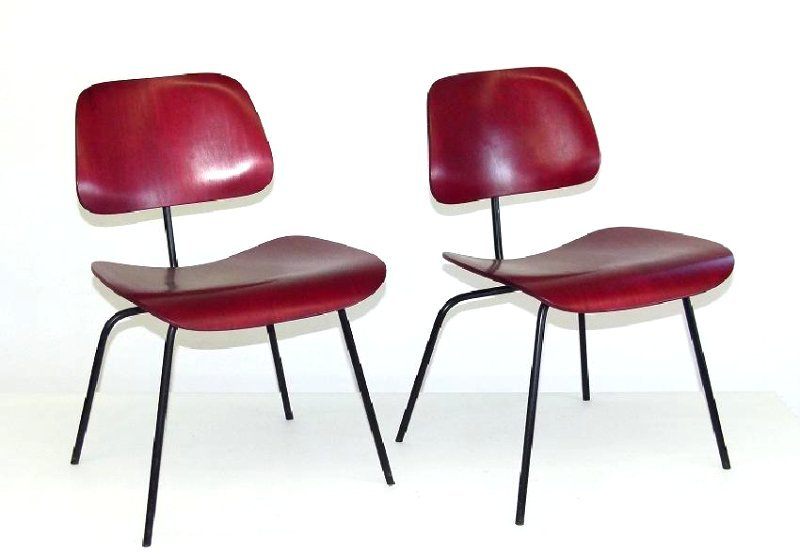 PAIR HERMAN MILLER DCM CHAIRS, APRIL 1959 (BLACK
