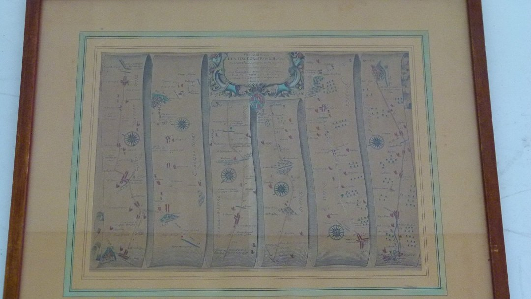 H/C MAP HUNTINGTON TO IPSWICH BY JOHN OGILBY - 2