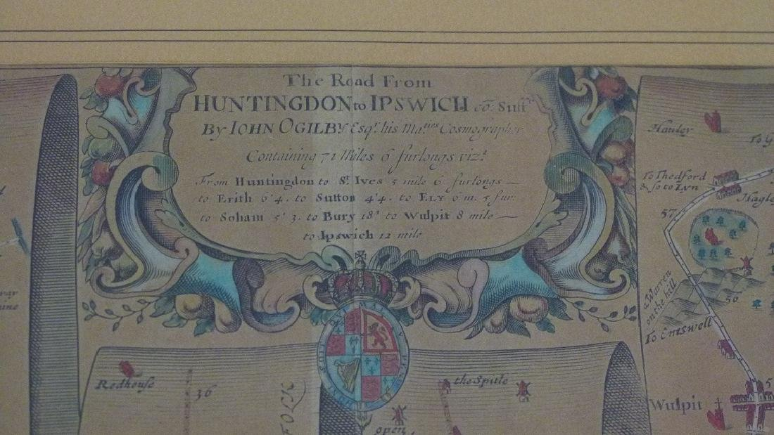 H/C MAP HUNTINGTON TO IPSWICH BY JOHN OGILBY - 3