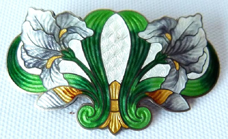 ART NOUVEAU ENAMELED STERLING BROACH, C. 1900