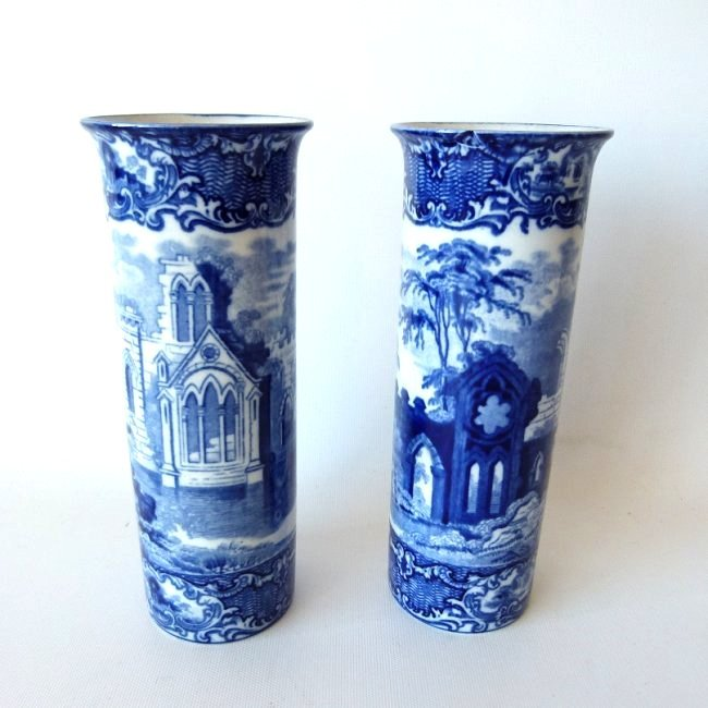 PAIR FLOW BLUE IRONSTONE VASES, ABBEY PATTERN (TIGHT