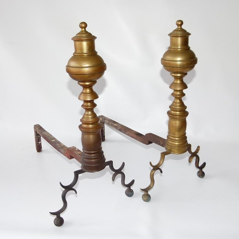 PAIR FEDERAL BRASS ANDIRONS, 19TH C.