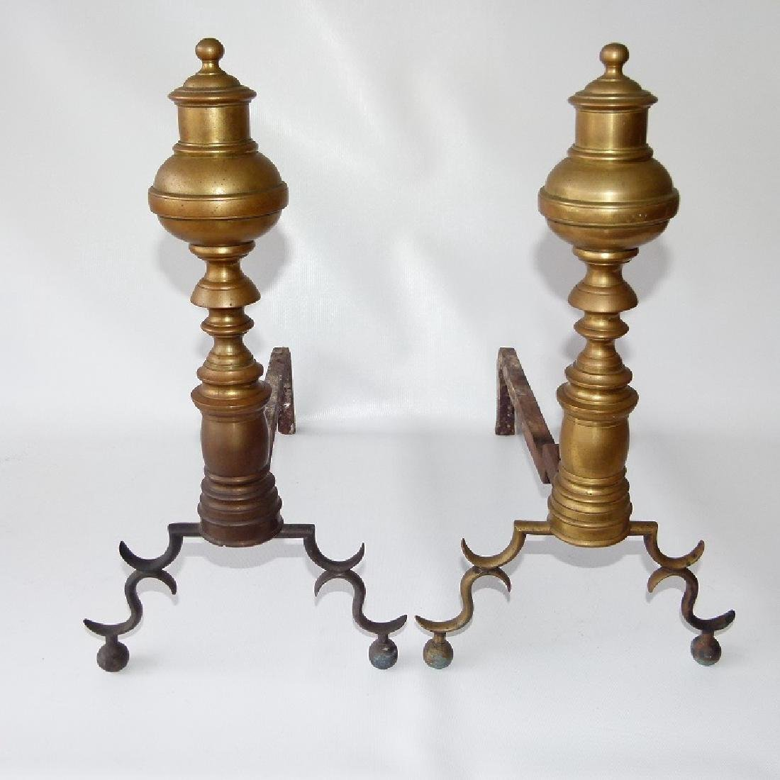 PAIR FEDERAL BRASS ANDIRONS, 19TH C. - 2