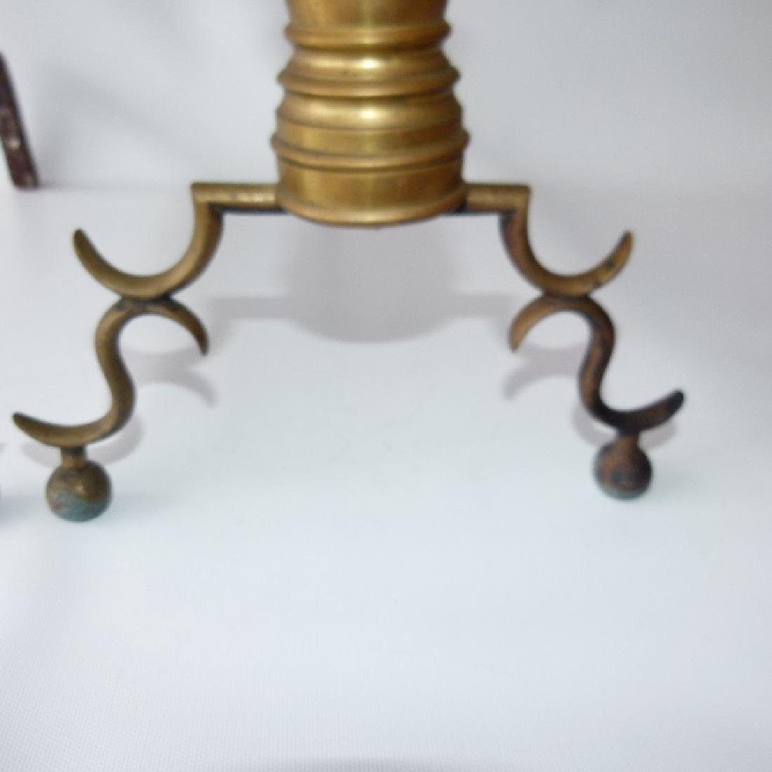 PAIR FEDERAL BRASS ANDIRONS, 19TH C. - 5