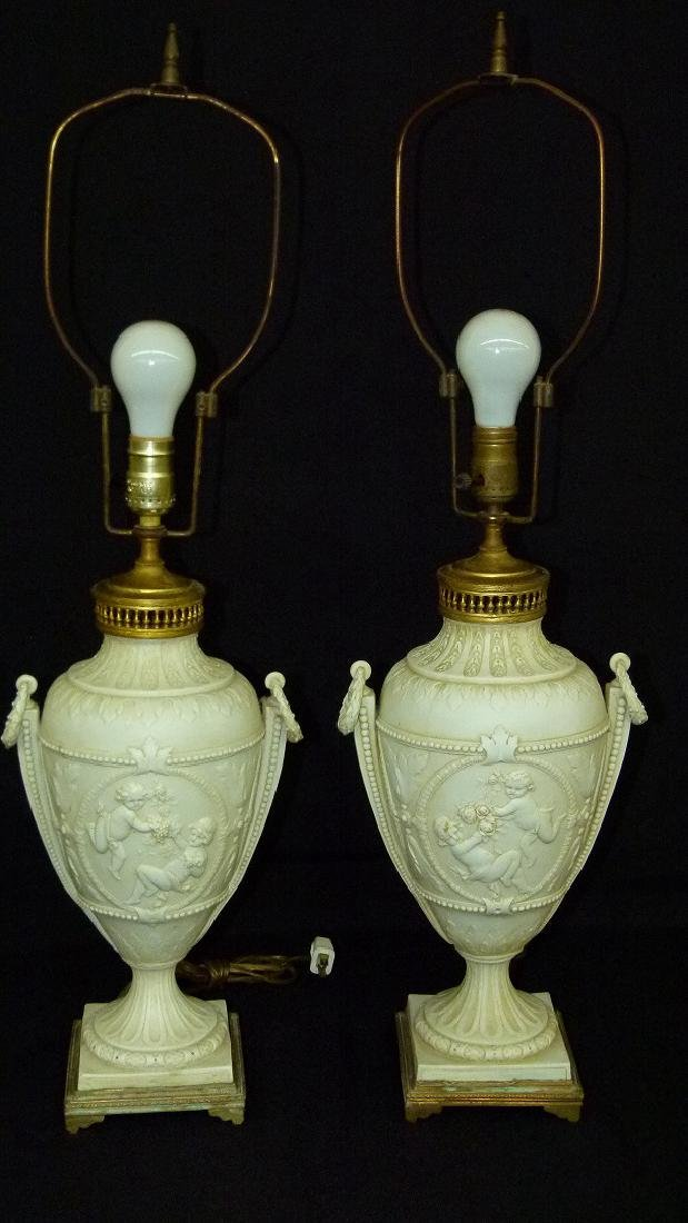 PAIR FRENCH PARIAN/PORCELAIN CLASSICAL URNS MOUNTED AS