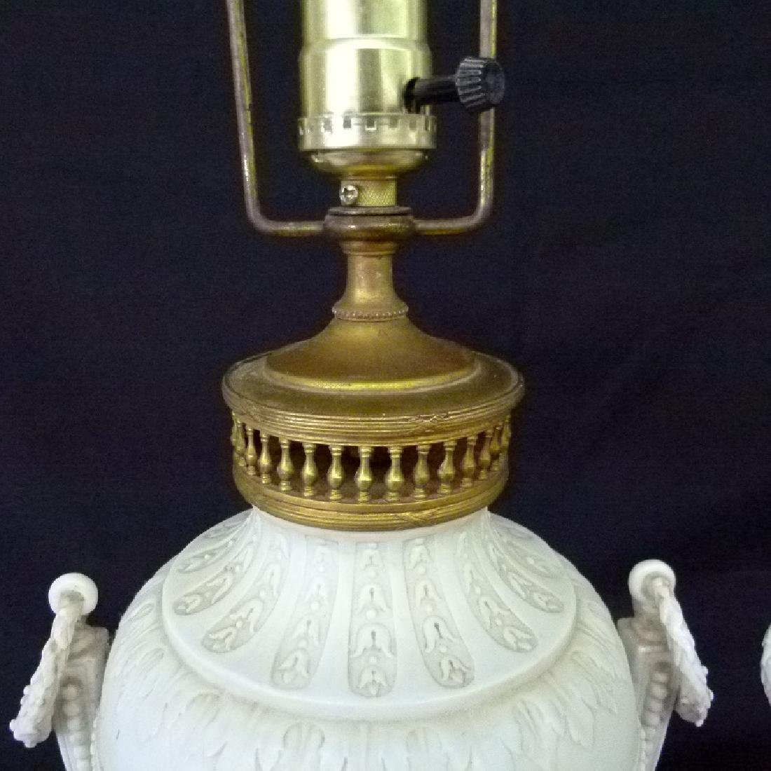 PAIR FRENCH PARIAN/PORCELAIN CLASSICAL URNS MOUNTED AS - 4