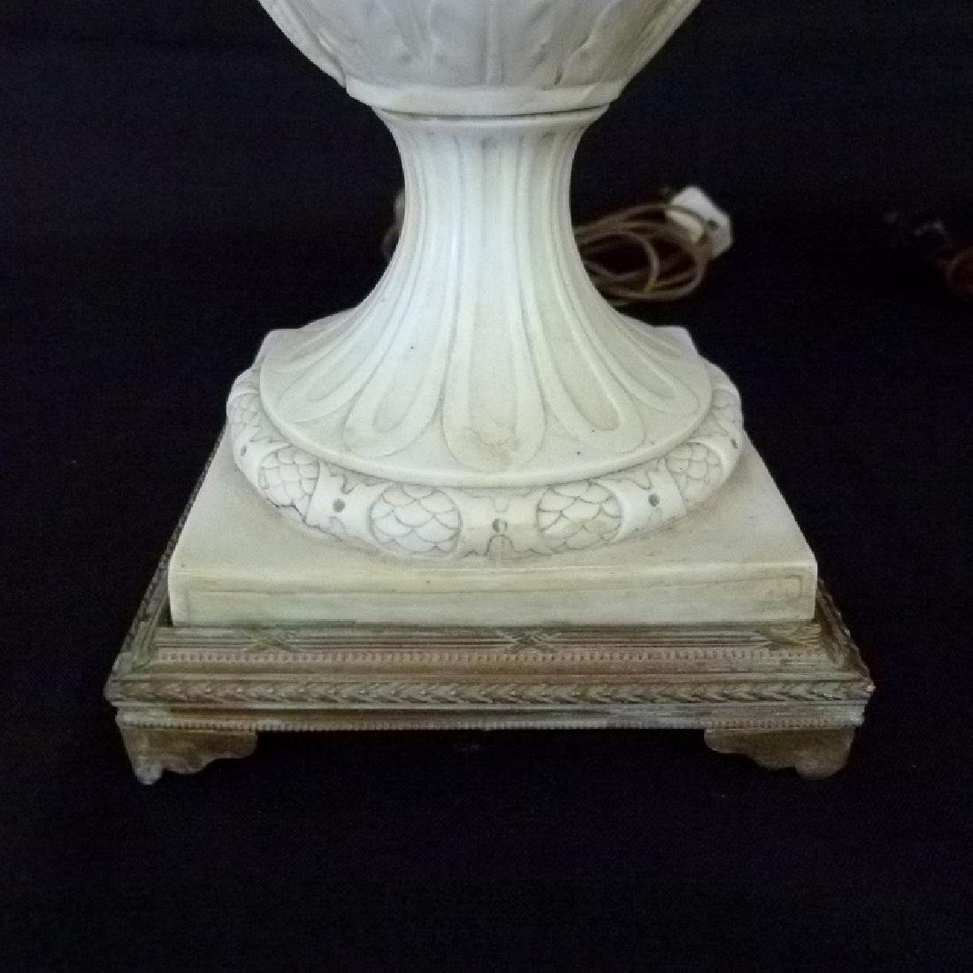 PAIR FRENCH PARIAN/PORCELAIN CLASSICAL URNS MOUNTED AS - 5