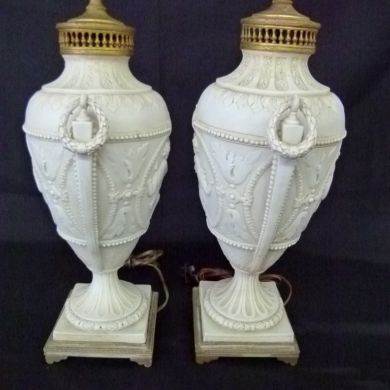 PAIR FRENCH PARIAN/PORCELAIN CLASSICAL URNS MOUNTED AS - 6
