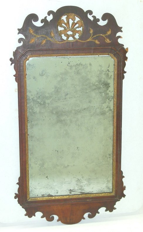 QUEEN ANNE MAHOGANY LOOKING GLASS, 18TH C.