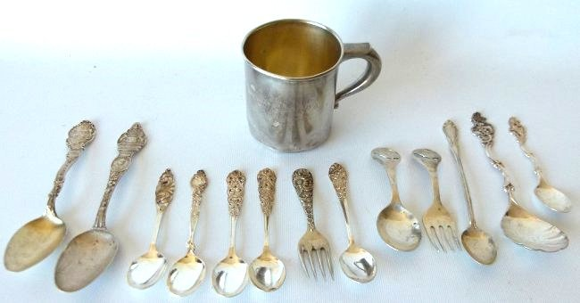 LOT ASSORTED STERLING INCL. CHILDS CUP, SOUVENIR SPOONS