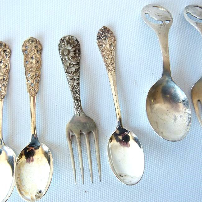 LOT ASSORTED STERLING INCL. CHILDS CUP, SOUVENIR SPOONS - 5