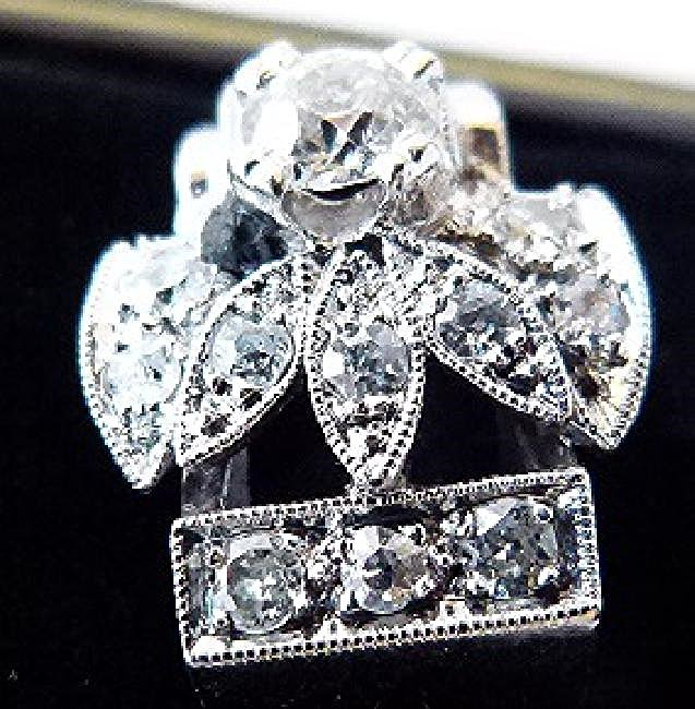 ART DECO 14KT. WHITE GOLD DIAMOND RING W/APPROX. 1 CT. - 3