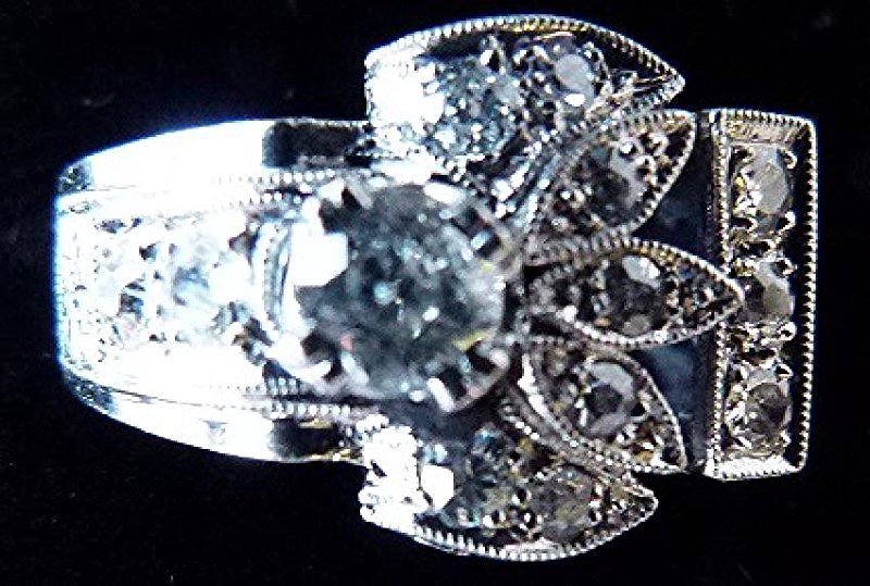 ART DECO 14KT. WHITE GOLD DIAMOND RING W/APPROX. 1 CT. - 4