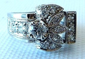 ART DECO 14KT. WHITE GOLD DIAMOND RING W/APPROX. 1 CT. - 5