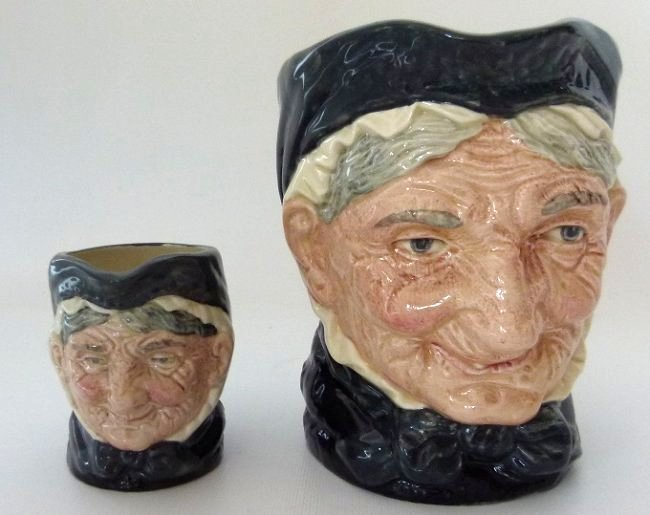 LOT (2) ROYAL DOULTON GRANNY TOBY MUGS, C. 1950'S