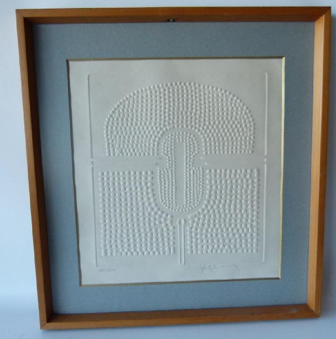 MID CENTURY MODERN PRESSED PAPER, SIGNED