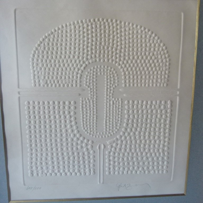 MID CENTURY MODERN PRESSED PAPER, SIGNED - 2